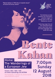 Bente Kahan Concert - A European Jew @ Kadimah | Elsternwick | Victoria | Australia